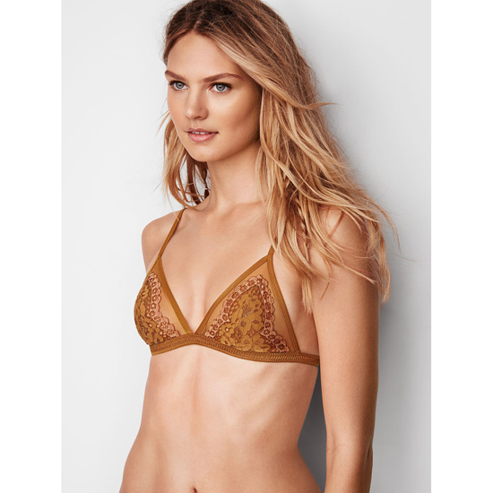 VICTORIA\'S SECRET NEW! Lace Triangle Bralette Bronze Brown With Almost Nude Crossdye Outlet Store