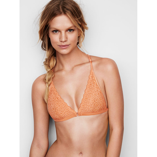VICTORIA\'S SECRET Front-close Bralette Gold Earth Daisy Lace Outlet Store