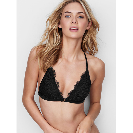 VICTORIA'S SECRET Front-close Bralette Black Crochet Lace Outlet Store