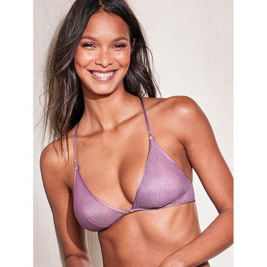VICTORIA\'S SECRET NEW! Mesh Front-close Bralette Gentle Mauve Textured Mesh Outlet Store