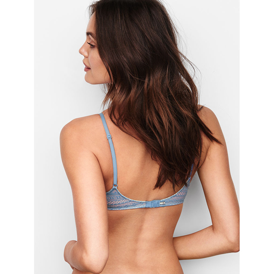 VICTORIA\'S SECRET Lightly Lined Triangle Bralette Faded Denim Lace Outlet Store