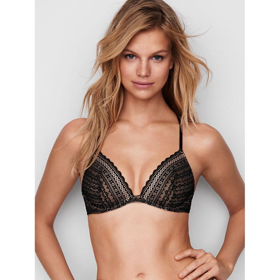 VICTORIA\'S SECRET Lightly Lined Triangle Bralette Black Lace Outlet Store
