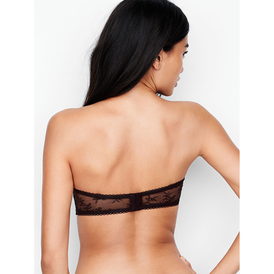VICTORIA\'S SECRET NEW! Crochet Lace Strapless Bralette Black With Chantilly Lace Outlet Store