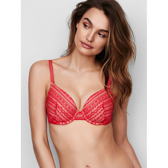 VICTORIA\'S SECRET Perfect Coverage Bra Bright Cherry Lace Lace Outlet Store