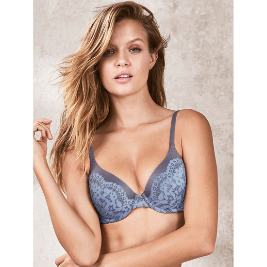 VICTORIA\'S SECRET NEW! Perfect Coverage Bra Black Pearl With Faded Denim Crochet Lace Outlet Store