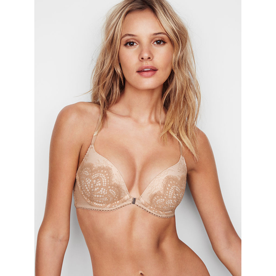 VICTORIA\'S SECRET NEW! Push-Up Bra Front-Close Sugar Cookie Lace With Chantilly Lace Outlet Store