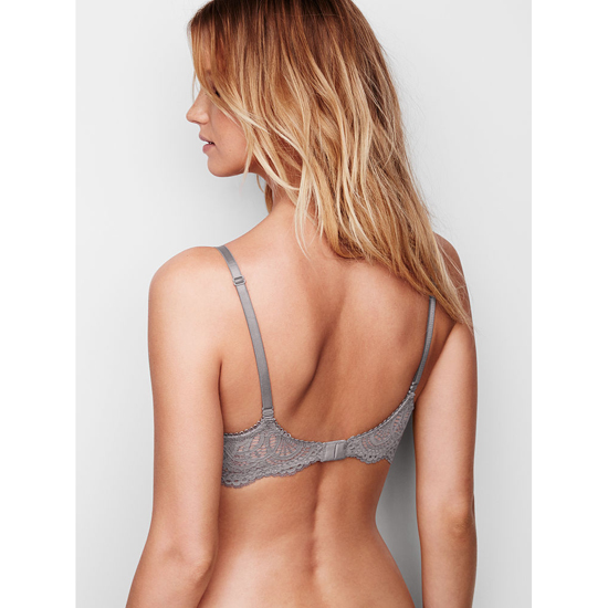 VICTORIA\'S SECRET NEW! Push-Up Bra Sterling Pewter With Solid Lace Outlet Store