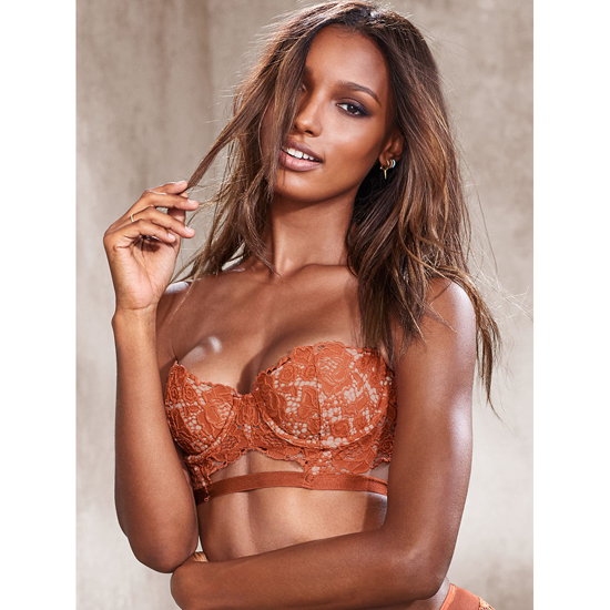 VICTORIA\'S SECRET Strapless Lace Bustier Ginger Glaze With New Nude Outlet Store
