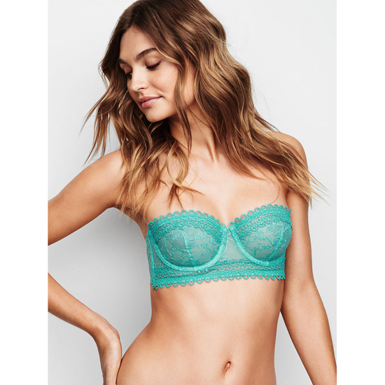 VICTORIA'S SECRET NEW! Lace & Mesh Unlined Strapless Bra Cozumel Teal Outlet Store