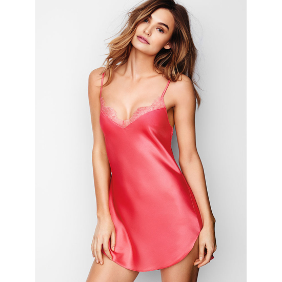 VICTORIA'S SECRET NEW! Lace-trim Satin Slip Pink Lacquer Outlet Store