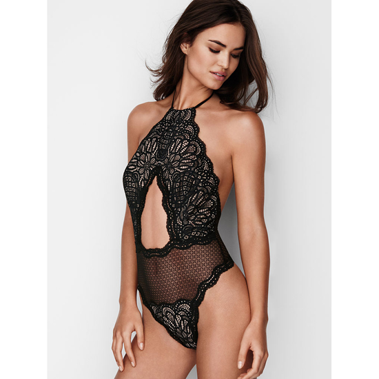 VICTORIA'S SECRET NEW! Cutout High-neck Teddy Black Outlet Store