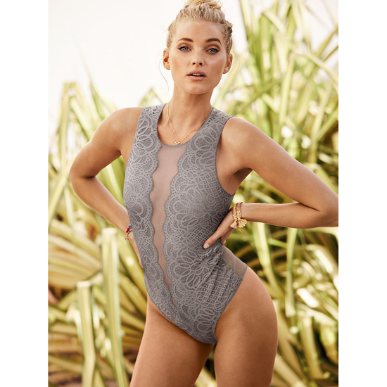 VICTORIA'S SECRET NEW! Lace & Mesh Bodysuit Sterling Pewter Outlet Store