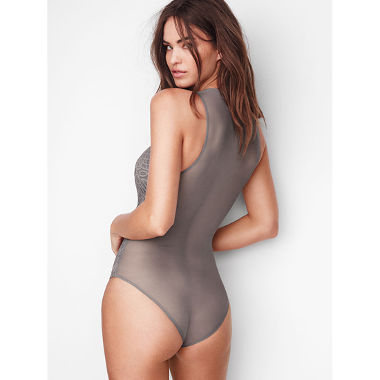 VICTORIA\'S SECRET NEW! Lace & Mesh Bodysuit Sterling Pewter Outlet Store