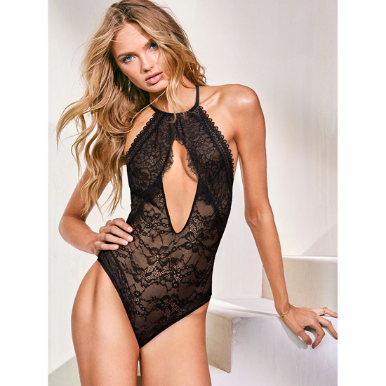 VICTORIA'S SECRET NEW! Lace High-neck Bodysui Black Outlet Store
