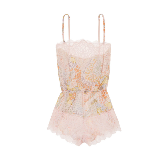VICTORIA\'S SECRET NEW! Crochet Lace Romper Pink Floral W/ Pink Ivory Lace Outlet Store