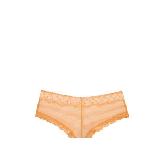 VICTORIA\'S SECRET Dot Lace & Mesh Cheeky Panty Gold Earth Outlet Store