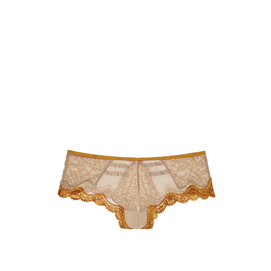 VICTORIA\'S SECRET NEW! Lace & Mesh Strappy Cheeky Panty Bronze Brown Outlet Store
