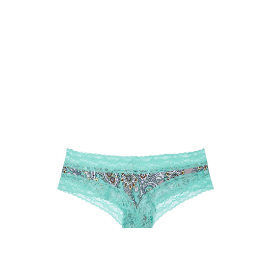 VICTORIA'S SECRET NEW! Lace-waist Cheeky Panty Aqua Retro Paisley Print Outlet Store