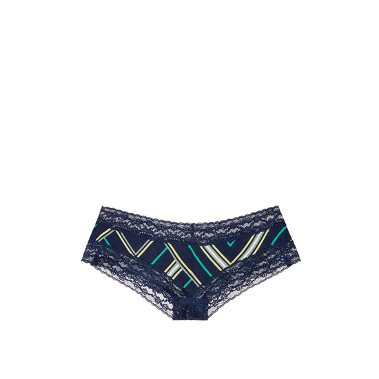 VICTORIA'S SECRET NEW! Lace-waist Cheeky Panty Ensign Blue Mix Stripe Outlet Store