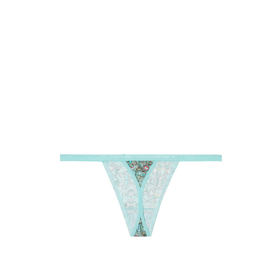 VICTORIA\'S SECRET NEW! V-string Panty Aqua Small Floral Print Outlet Store