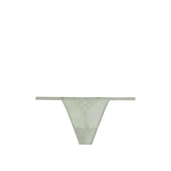 VICTORIA'S SECRET T-Back V-String Panty Silver Sea Caged Back Outlet Store