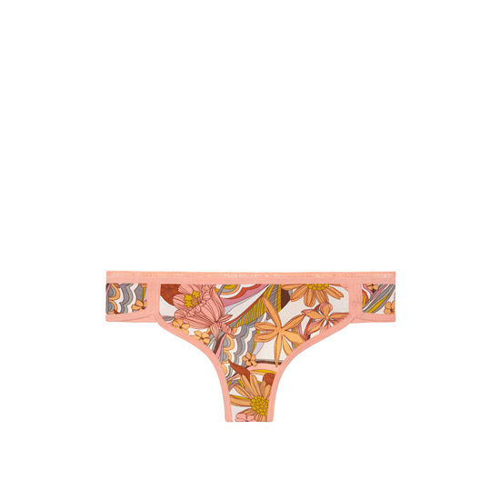 VICTORIA\'S SECRET NEW! Curved-hem Thong Panty Summer Floral Print Outlet Store