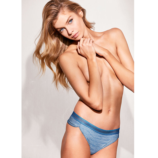 VICTORIA\'S SECRET NEW! Curved-hem Thong Panty Cerulean Blue Mesh Outlet Store