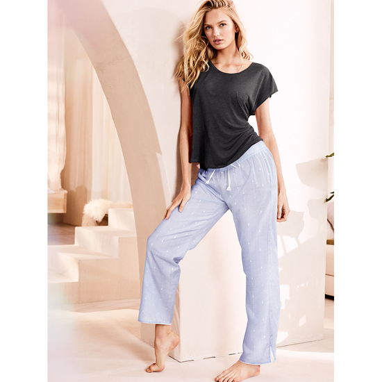 VICTORIA\'S SECRET NEW! The Mayfair Tee-jama Black/Indigo Dobby Outlet Store