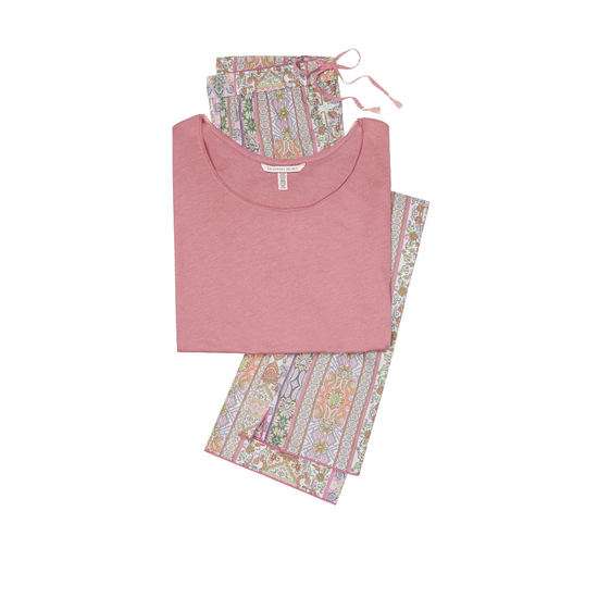 VICTORIA'S SECRET NEW! The Mayfair Tee-jama Rosy Mauve/Pink Paisley Stripe Outlet Store