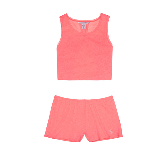 VICTORIA\'S SECRET NEW! Open-back Tank & Short Set Tropical Coral Outlet Store