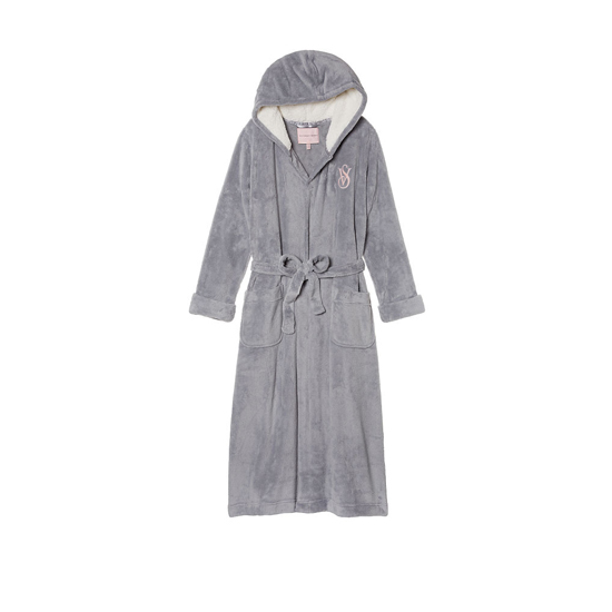 VICTORIA\'S SECRET NEW! The Cozy Hooded Long Robe Grey Oasis Outlet Store