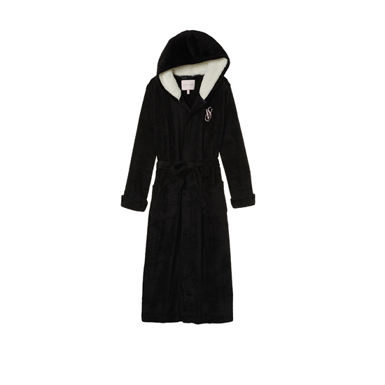 VICTORIA'S SECRET NEW! The Cozy Hooded Long Robe Black Outlet Store