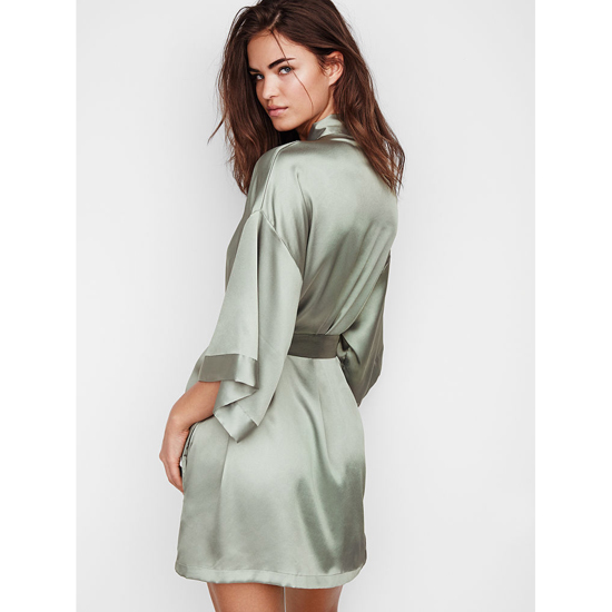 VICTORIA\'S SECRET NEW! Satin Kimono Silver Sea Outlet Store