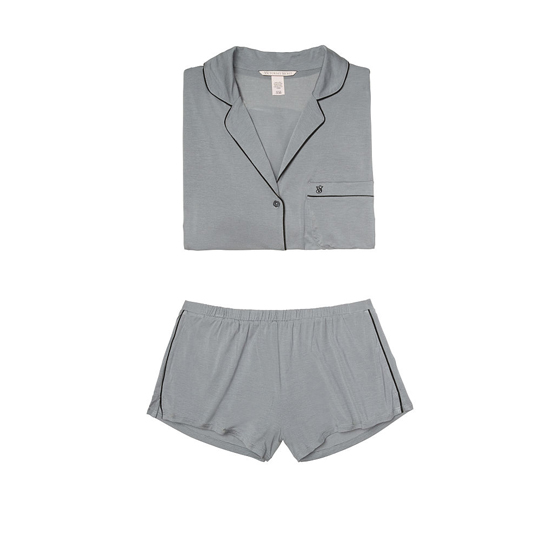 VICTORIA\'S SECRET Supersoft Short PJ Set Sterling Pewter Outlet Store