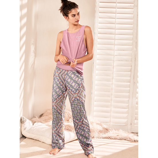 VICTORIA\'S SECRET NEW! The Pillowtalk Tank Pajama Rosey Mauve/Pink Paisley Stripe Outlet Store