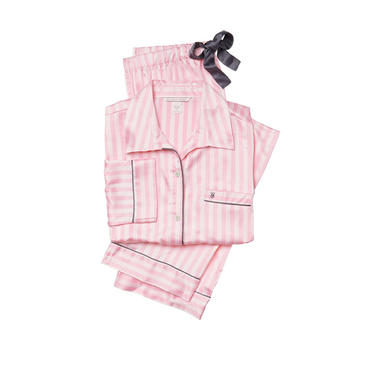 VICTORIA\'S SECRET NEW! The Afterhours Satin Pajama Pink Stripe Outlet Store