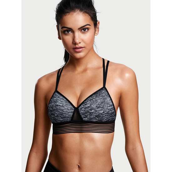 VICTORIA'S SECRET Strappy Mesh Sport Bra Black Marl Outlet Store