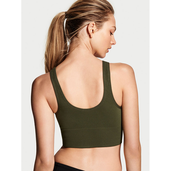 VICTORIA\'S SECRET NEW! Long Line Seamless Sport Bra Forest Night Outlet Store