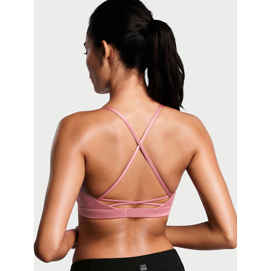 VICTORIA\'S SECRET NEW! Lace-up Sport Bra Rosy Mauve Outlet Store