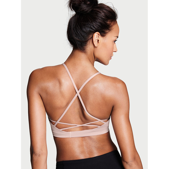 VICTORIA\'S SECRET NEW! Lace-up Sport Bra Tinted Plum Outlet Store