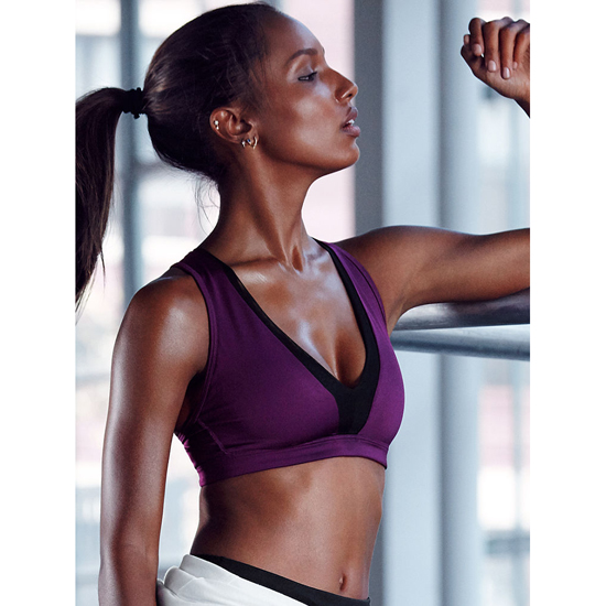 VICTORIA\'S SECRET NEW! Long Line Plunge Sport Bra Grape Soda Outlet Store