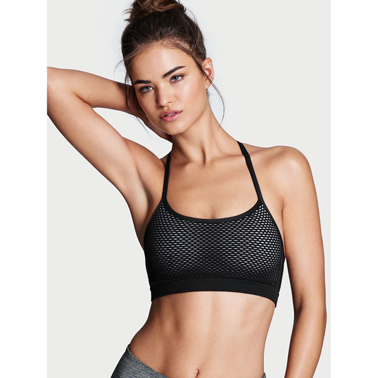 VICTORIA\'S SECRET T-back Seamless Sport Bra Black/Mesh Outlet Store