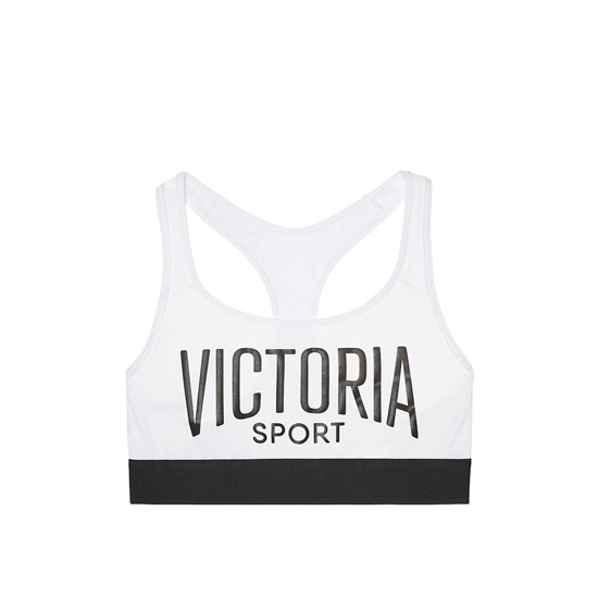VICTORIA\'S SECRET NEW! The Player by Victoria Sport Racerback Sport Bra White/Victoria Sport Logo/Black Waistband Outlet Store