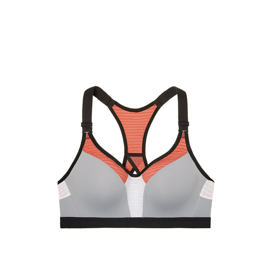 VICTORIA'S SECRET NEW! Incredible by Victoria Sport Bra Grey Oasis/Ginger Glaze Mesh Curves Outlet Store