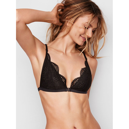 VICTORIA'S SECRET NEW! Strappy-back Triangle Bralette Black Strappy Back Outlet Store