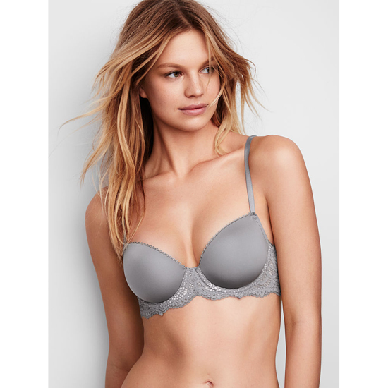 VICTORIA'S SECRET Demi Bra Sterling Pewter With Solid Lace Outlet Store