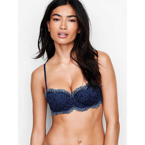 VICTORIA'S SECRET NEW! Strapless Balconet Bra Ensign With Faded Denim Crossdye Outlet Store