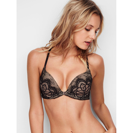VICTORIA'S SECRET NEW! Push-Up Bra Front-Close Black Lace With Chantilly Lace Outlet Store