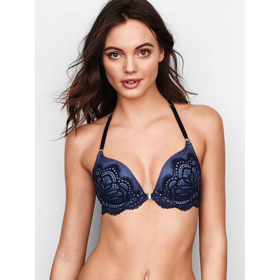 VICTORIA'S SECRET Push-Up Bra Front-Close Ensign Solid Lace Outlet Store