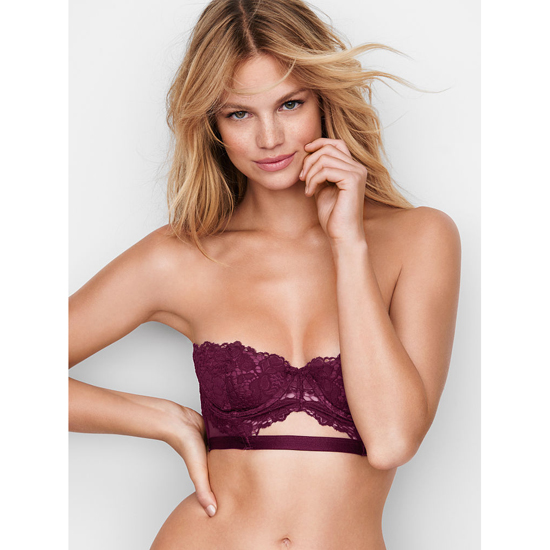 VICTORIA'S SECRET Strapless Lace Bustier Ruby Wine With Sweet Plum Outlet Store